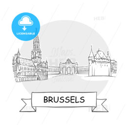 Brussels Cityscape Vector Sign
