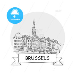 Brussels hand-drawn urban vector sign