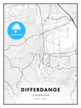Differdange, Luxembourg, Modern Print Template in Various Formats