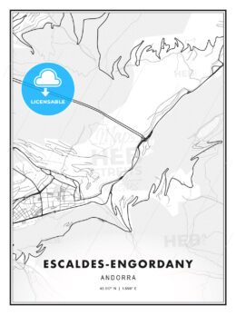 Escaldes-Engordany, Andorra, Modern Print Template in Various Formats