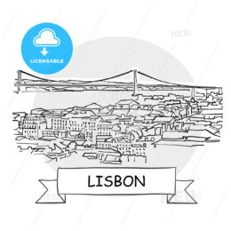 Lisbon Cityscape Vector Sign