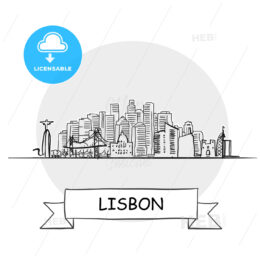Lisbon hand-drawn urban vector sign
