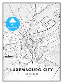 Luxembourg City, Luxembourg, Modern Print Template in Various Formats