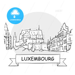 Luxembourg Cityscape Vector Sign