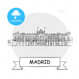 Madrid Cityscape Vector Sign