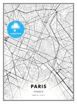 Paris, France, Modern Print Template in Various Formats