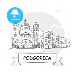 Podgorica Cityscape Vector Sign