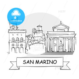San Marino Cityscape Vector Sign