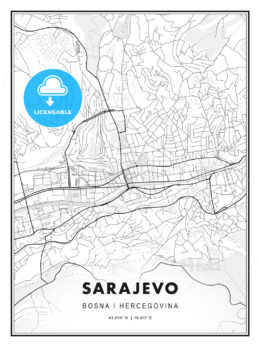 Sarajevo, Bosnia and Herzegovina, Modern Print Template in Various Formats