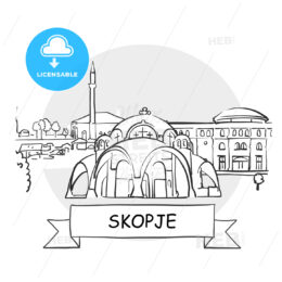 Skopje Cityscape Vector Sign
