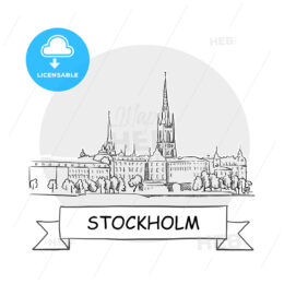 Stockholm Cityscape Vector Sign