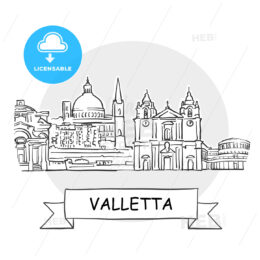 Valletta Cityscape Vector Sign
