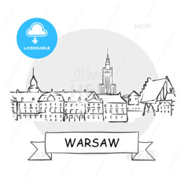 Warsaw Cityscape Vector Sign