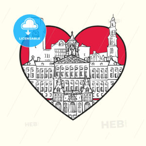 I love Amsterdam. Red heart and famous buildings - HEBSTREITS Sketches