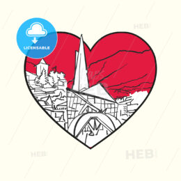 I love Andorra la Vella. Red heart and famous buildings - HEBSTREITS Sketches