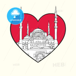 I love Ankara. Red heart and famous buildings - HEBSTREITS Sketches