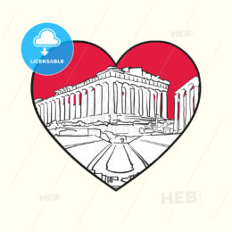 I love Athens. Red heart and famous buildings - HEBSTREITS Sketches