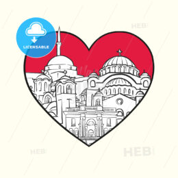 I love Belgrade. Red heart and famous buildings - HEBSTREITS Sketches
