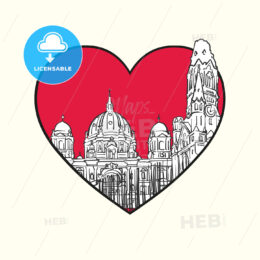 I love Berlin. Red heart and famous buildings - HEBSTREITS Sketches