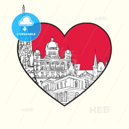 I love Bern. Red heart and famous buildings - HEBSTREITS Sketches