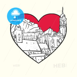 I love Bratislava. Red heart and famous buildings - HEBSTREITS Sketches