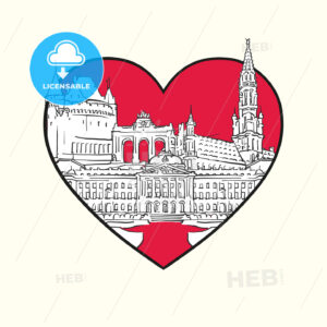 I love Brussels. Red heart and famous buildings - HEBSTREITS Sketches