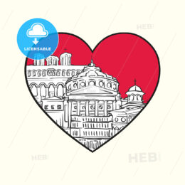 I love Bucharest. Red heart and famous buildings - HEBSTREITS Sketches