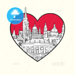 I love Budapest. Red heart and famous buildings - HEBSTREITS Sketches