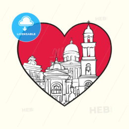 I love Chisinau. Red heart and famous buildings - HEBSTREITS Sketches