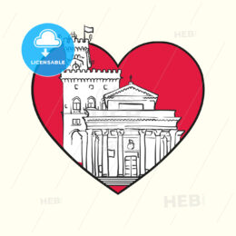 I love City of San Marino. Red heart and famous buildings - HEBSTREITS Sketches