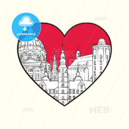 I love Copenhagen. Red heart and famous buildings - HEBSTREITS Sketches