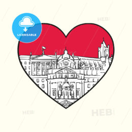 I love Dublin. Red heart and famous buildings - HEBSTREITS Sketches
