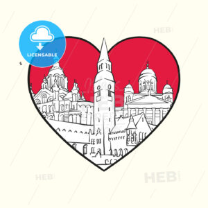 I love Helsinki. Red heart and famous buildings - HEBSTREITS Sketches