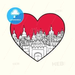 I love Kiev. Red heart and famous buildings - HEBSTREITS Sketches