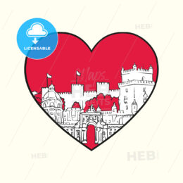 I love Lisbon. Red heart and famous buildings - HEBSTREITS Sketches