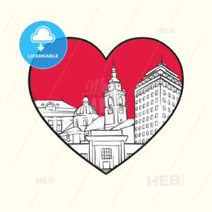 I love Ljubljana. Red heart and famous buildings - HEBSTREITS Sketches
