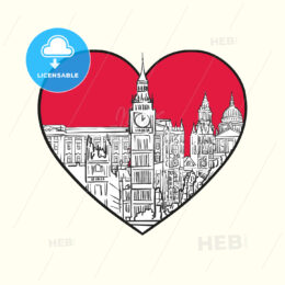 I love London. Red heart and famous buildings - HEBSTREITS Sketches