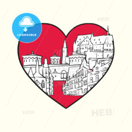 I love Luxembourg City. Red heart and famous buildings - HEBSTREITS Sketches