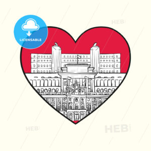 I love Madrid. Red heart and famous buildings - HEBSTREITS Sketches