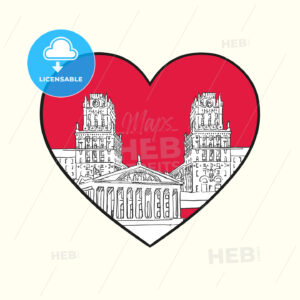 I love Minsk. Red heart and famous buildings - HEBSTREITS Sketches