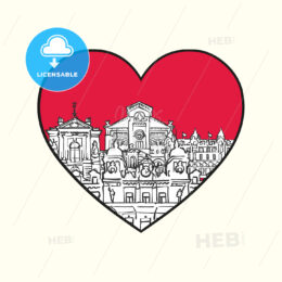 I love Monaco. Red heart and famous buildings - HEBSTREITS Sketches