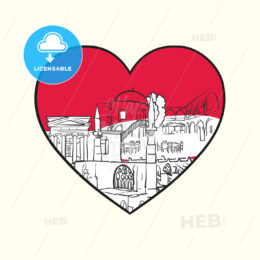 I love Nicosia. Red heart and famous buildings - HEBSTREITS Sketches