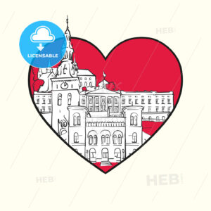 I love Oslo. Red heart and famous buildings - HEBSTREITS Sketches