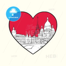 I love Paris. Red heart and famous buildings - HEBSTREITS Sketches
