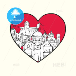 I love Podgorica. Red heart and famous buildings - HEBSTREITS Sketches
