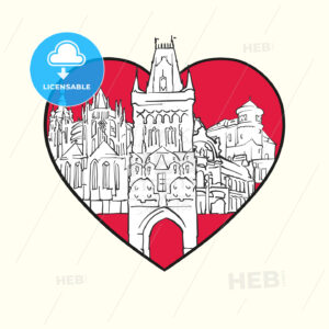 I love Prague. Red heart and famous buildings - HEBSTREITS Sketches
