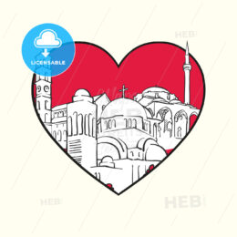 I love Pristina. Red heart and famous buildings - HEBSTREITS Sketches