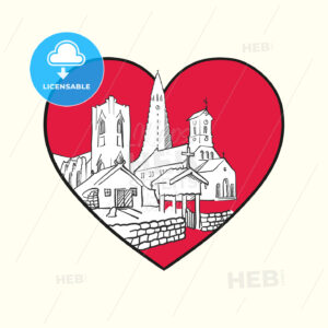 I love Reykjavík. Red heart and famous buildings - HEBSTREITS Sketches
