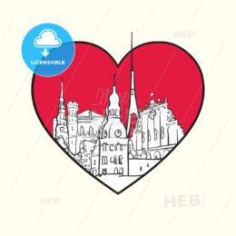 I love Riga. Red heart and famous buildings - HEBSTREITS Sketches