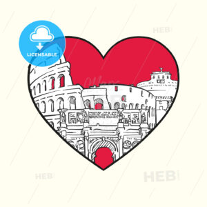 I love Rome. Red heart and famous buildings - HEBSTREITS Sketches